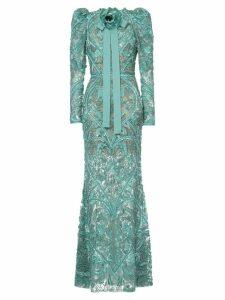 Elie Saab long sleeves full embellished column gown - Green