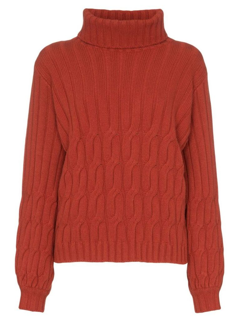 Johanna Ortiz Turtleneck wool-cashmere cable-knit sweater - Red