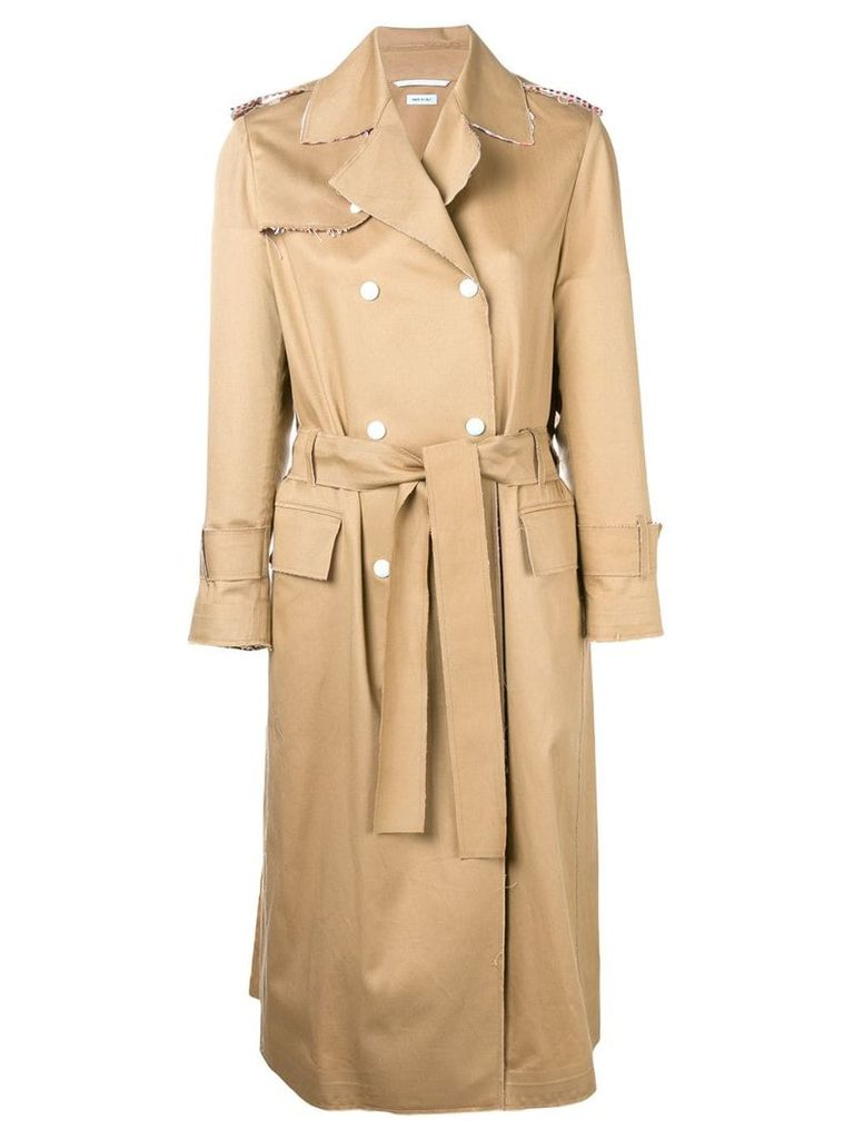 Thom Browne Bonded Raw-Edge Trench Coat - Neutrals