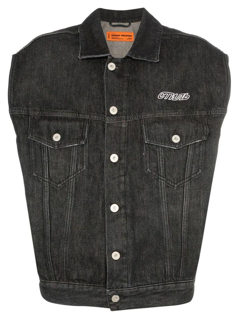 Heron Preston CTNMB-print sleeveless denim jacket - Black