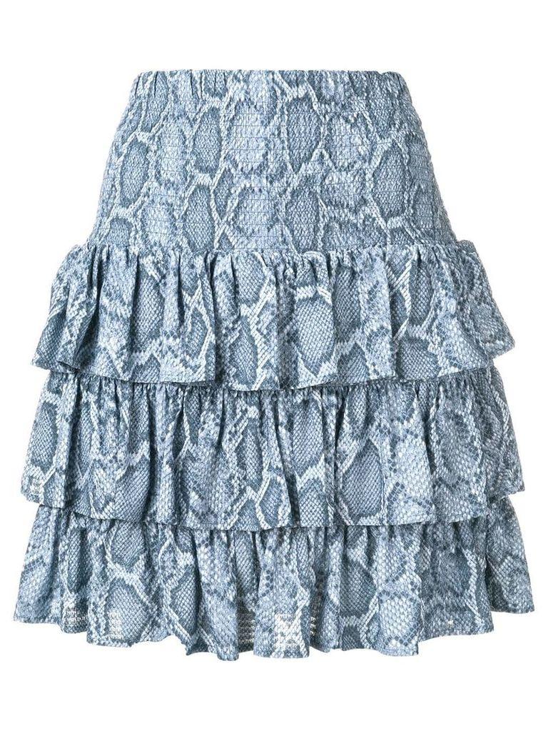 Michael Michael Kors snakeskin print ruffle skirt - Blue