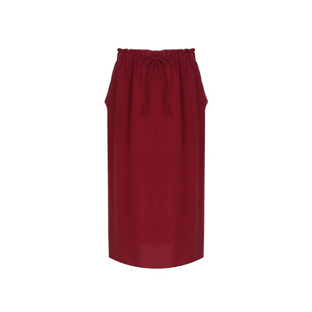 URUN - Urun Essentials Silk Skirt In Burgundy