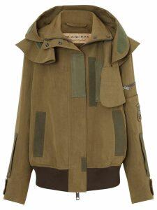 Burberry Detachable Hood Cotton Silk Twill Jacket - Green