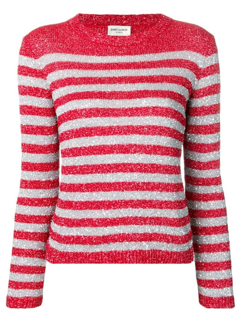 Saint Laurent rhinestone-decorated sailor top - Red