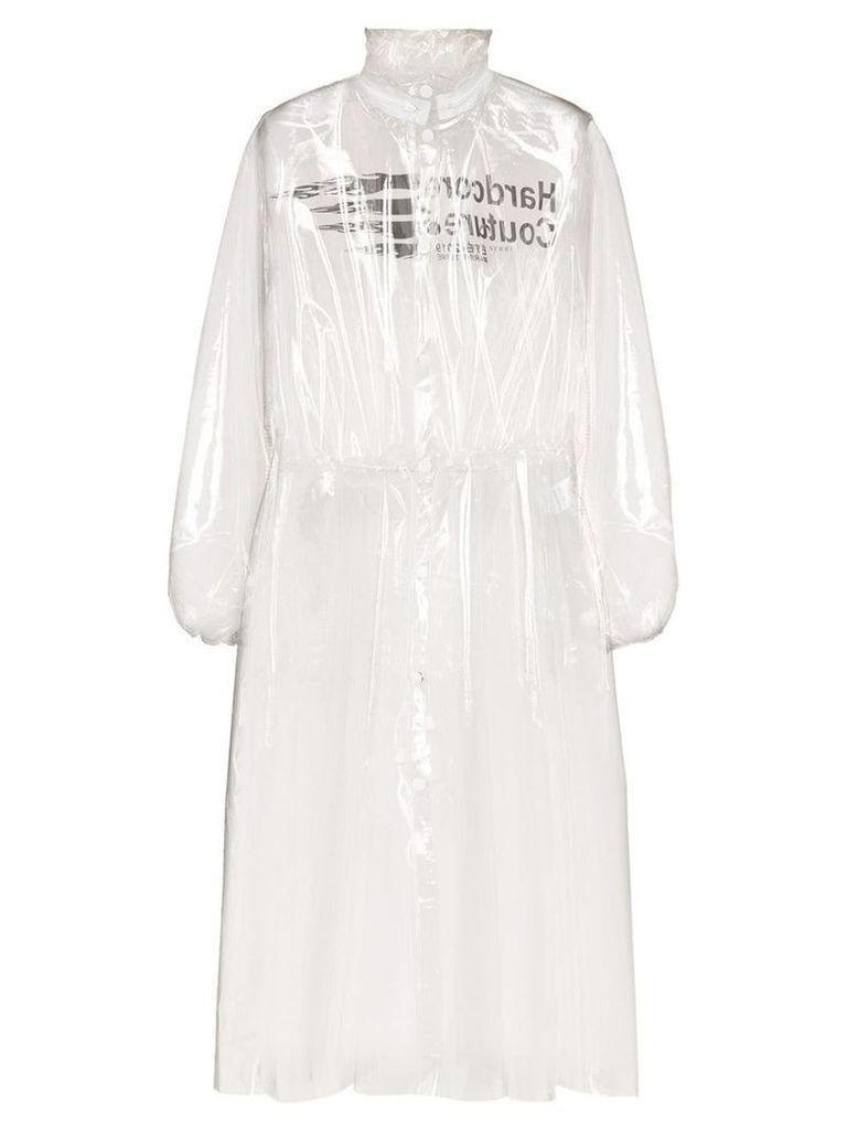 Marine Serre logo-print hooded PVC raincoat - Neutrals