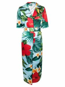 Richard Quinn tropical flower print coat - Blue