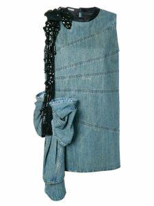 Miu Miu oversized bow embroidered denim dress - Blue