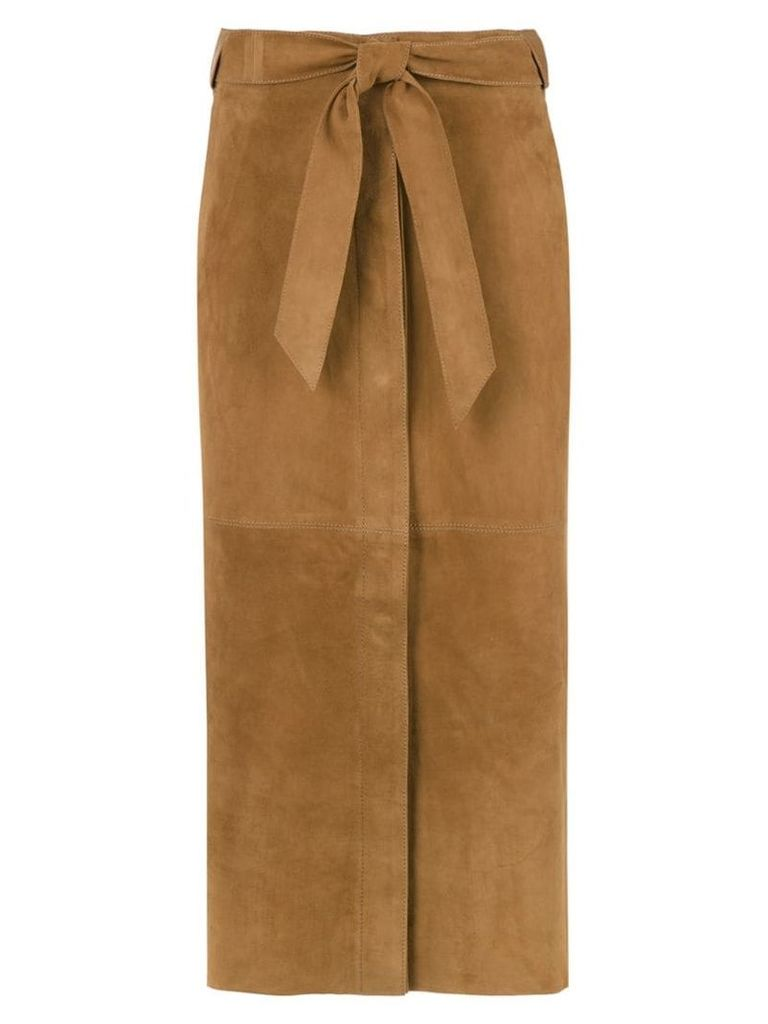 Egrey leather midi skirt - Brown