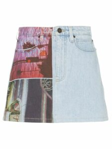Calvin Klein Jeans Est. 1978 graphic print denim mini skirt - Blue