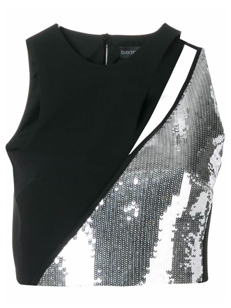 David Koma panelled sequin top - Black
