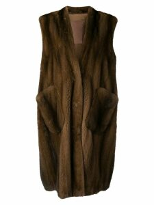 Liska oversized sleeveless coat - Brown