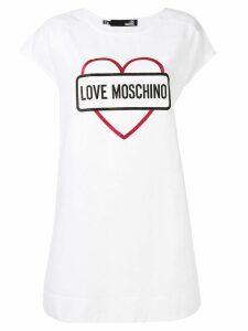 Love Moschino glitter heart T-shirt dress - White