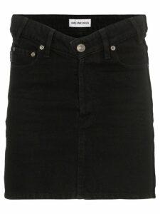Balenciaga V-waist denim mini skirt - Black