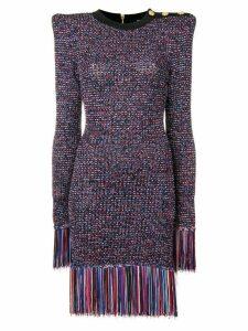 Balmain structured tweed fringed dress - Black