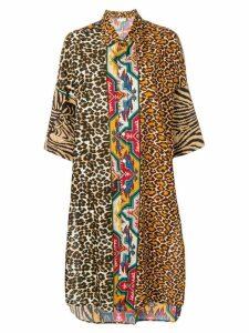 Pierre-Louis Mascia animal patchwork shirt dress - Neutrals