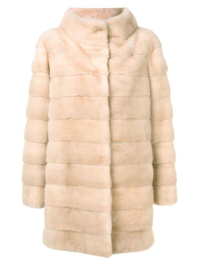 Liska quilted long coat - Neutrals