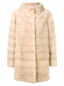 Liska quilted long coat - Neutrals