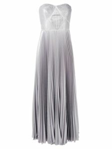 Marchesa Notte pleated gown - Silver