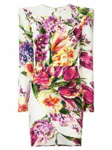 Alex Perry Anais floral print mini dress - White