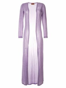 Missoni glittery ultra light long coat - Purple