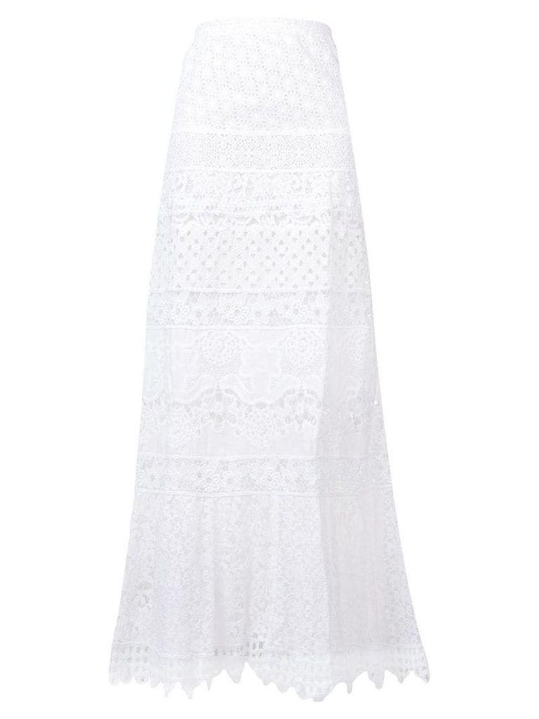 Temptation Positano long embroidered skirt - White