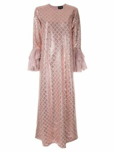 Dima Ayad sequin embroidered flared dress - Pink