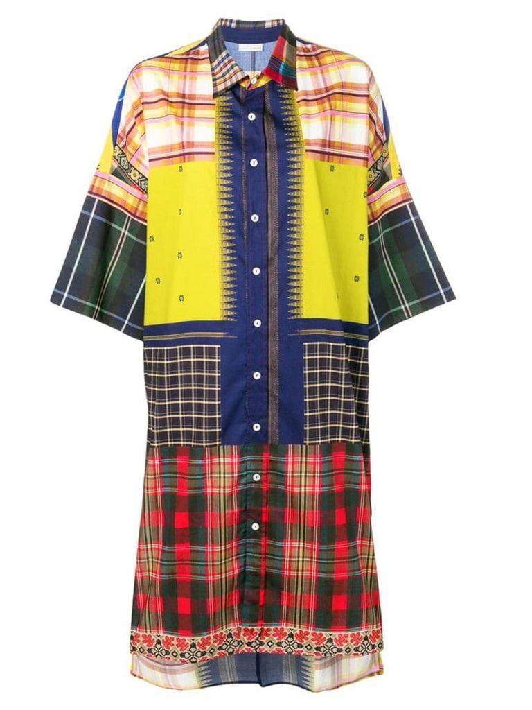 Pierre-Louis Mascia razzoli patchwork shirt dress - Green