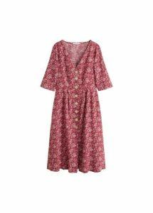 Buttoned linen-blend dress