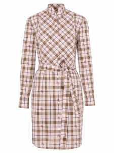 Burberry EKD Check Cotton Tie-waist Shirt Dress - Pink
