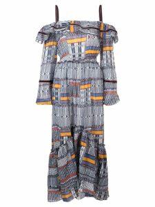 Lemlem Kente ruffle cold-shoulder dress - Blue