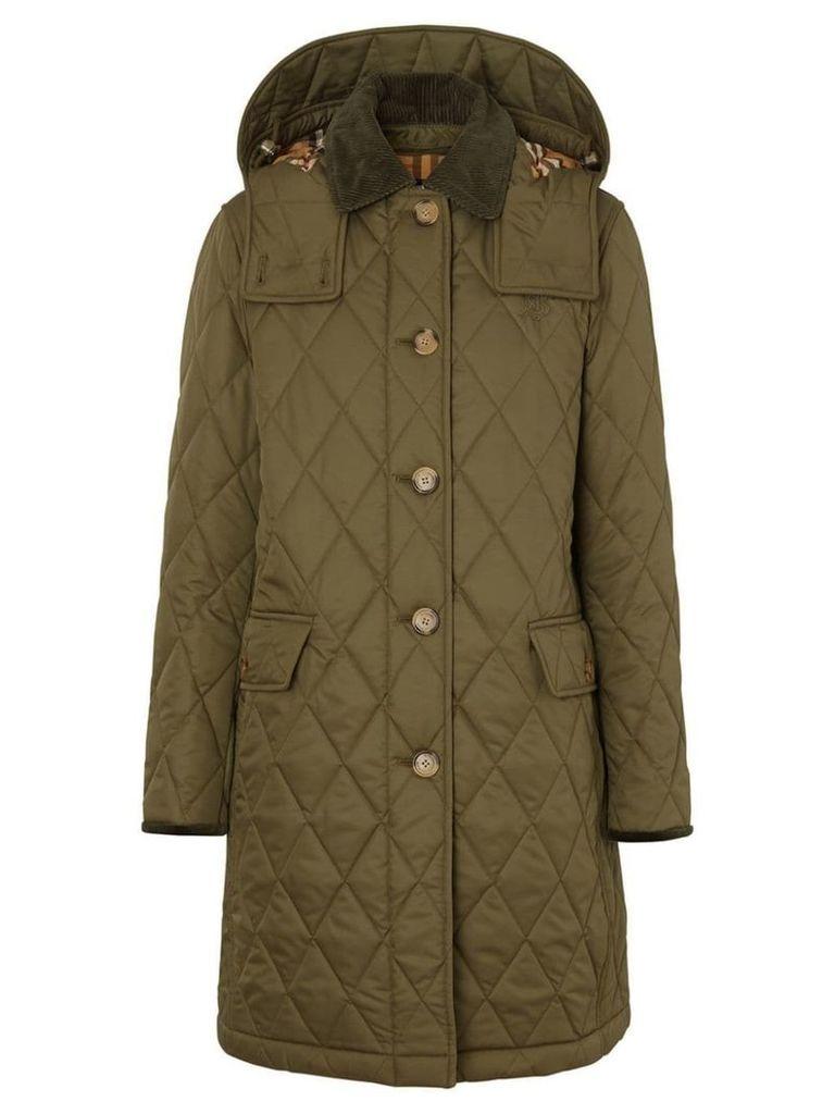 Burberry Detachable Hood Monogram Motif Quilted Coat - Green