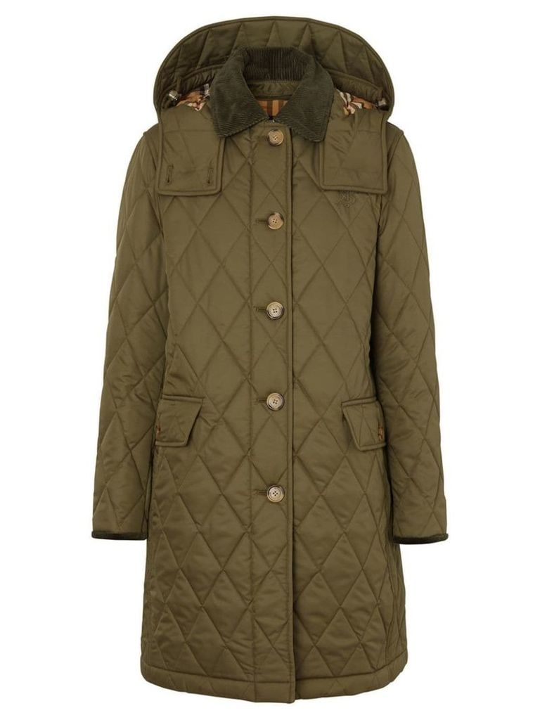 Burberry Detachable Hood Monogram Motif Quilted Coat - Green