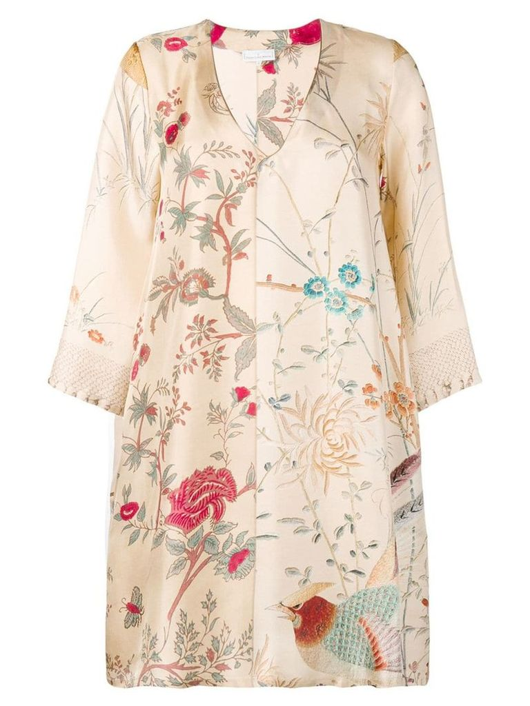 Pierre-Louis Mascia floral scene mini dress - Neutrals