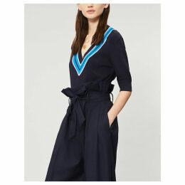 Mistigris V-neck stretch-knit jumper