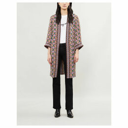 Miyoko graphic-pattern satin kimono