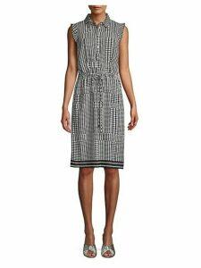 Dot-Print Tie Shift Dress