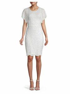 Scalloped Faux Pearl & Sequin Sheath Dress