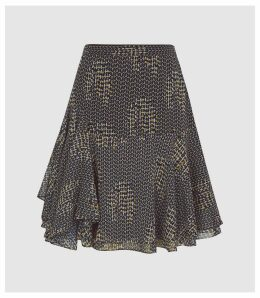Reiss Muriel - Printed Mini Skirt in Navy, Womens, Size 14