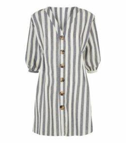 Blue Vanilla Blue Stripe Button Up Shirt Dress New Look