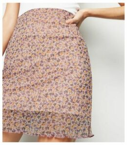Pink Ditsy Floral Mesh Tube Skirt New Look