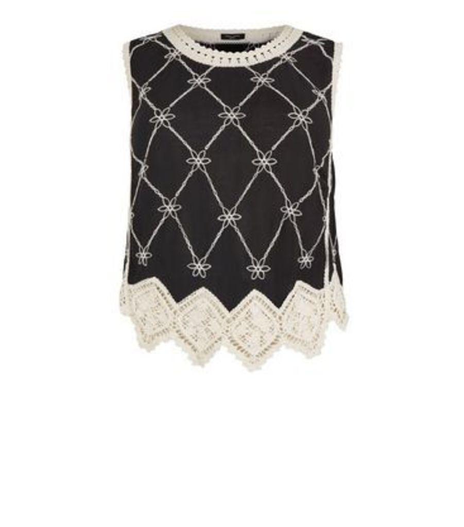 Curves Black Crochet Top New Look