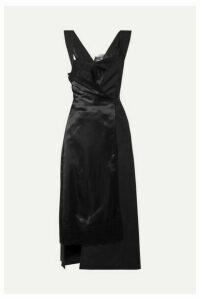 Junya Watanabe - Lace-trimmed Paneled Satin And Twill Wrap Dress - Black