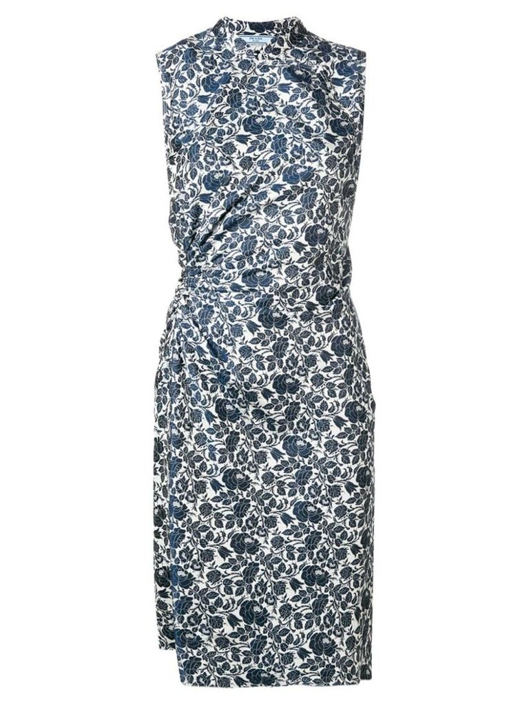Prada Vintage 2000's floral draped dress - Blue
