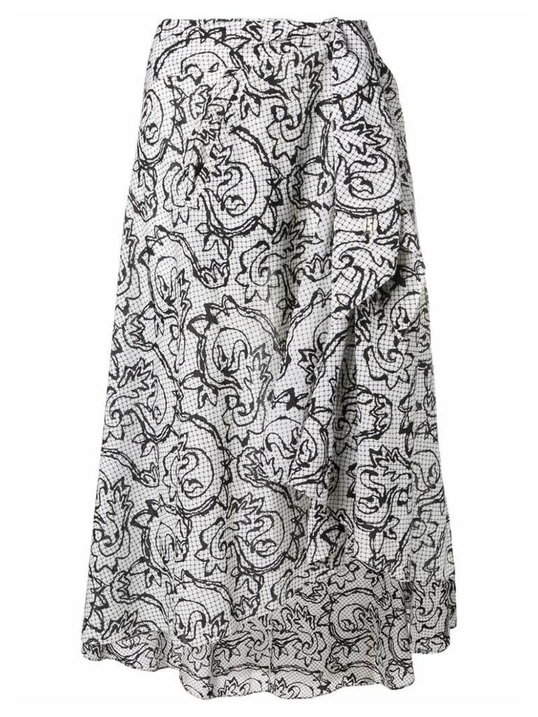 Fendi Vintage 1990's sketch floral skirt - White