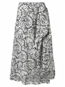Fendi Pre-Owned 1990's sketch floral skirt - White