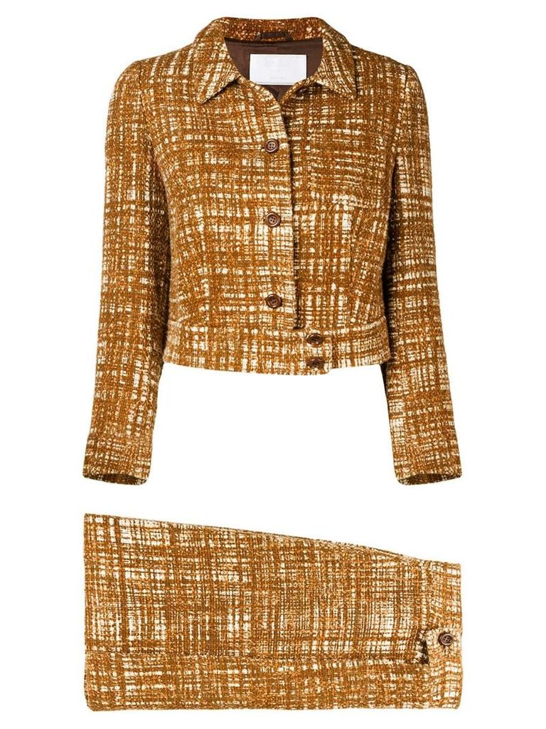 Prada Vintage 2000'S tweed skirt suit - Brown