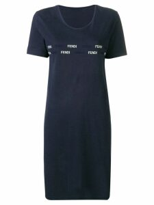 Fendi Pre-Owned 1990's logo embroidered T-shirt dress - Blue