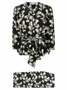 Yves Saint Laurent Pre-Owned 1970's feather print skirt suit - Black