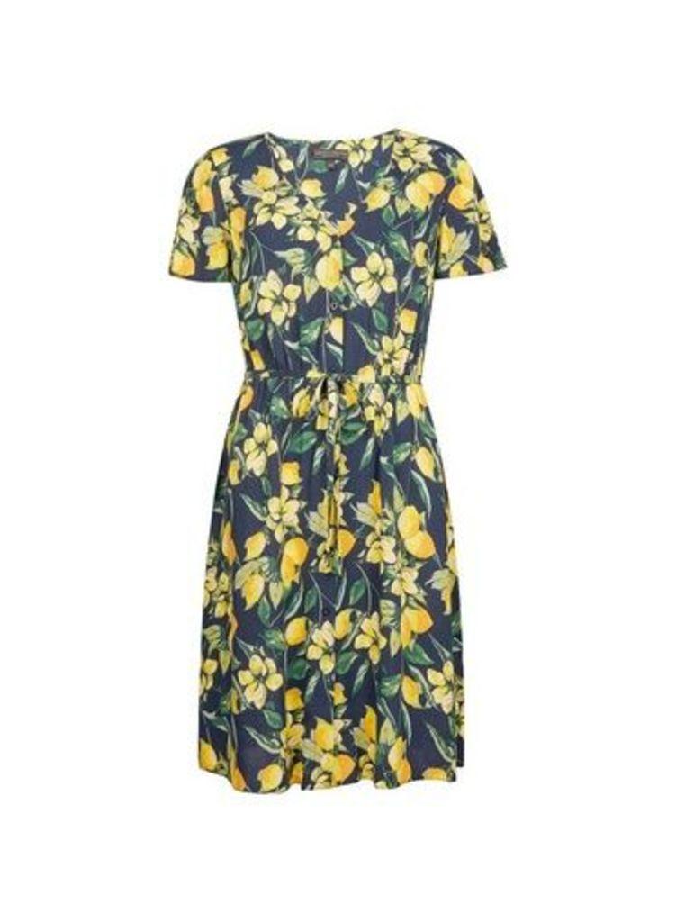 Womens Blue Lemon Print Fit And Flare Dress- Blue, Blue
