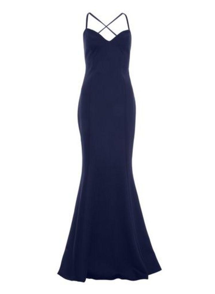 Womens *Quiz Navy Crossover Maxi Dress- Navy, Navy